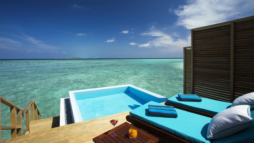 Water bungalow pool deck Velassaru Maldives