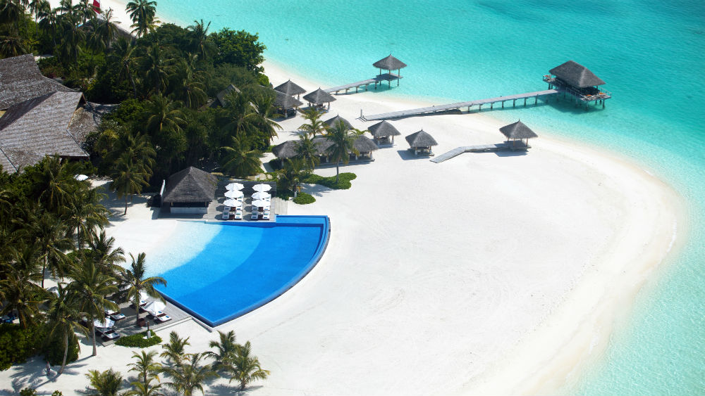 above photo of aerial infinity pool Velassaru Maldives