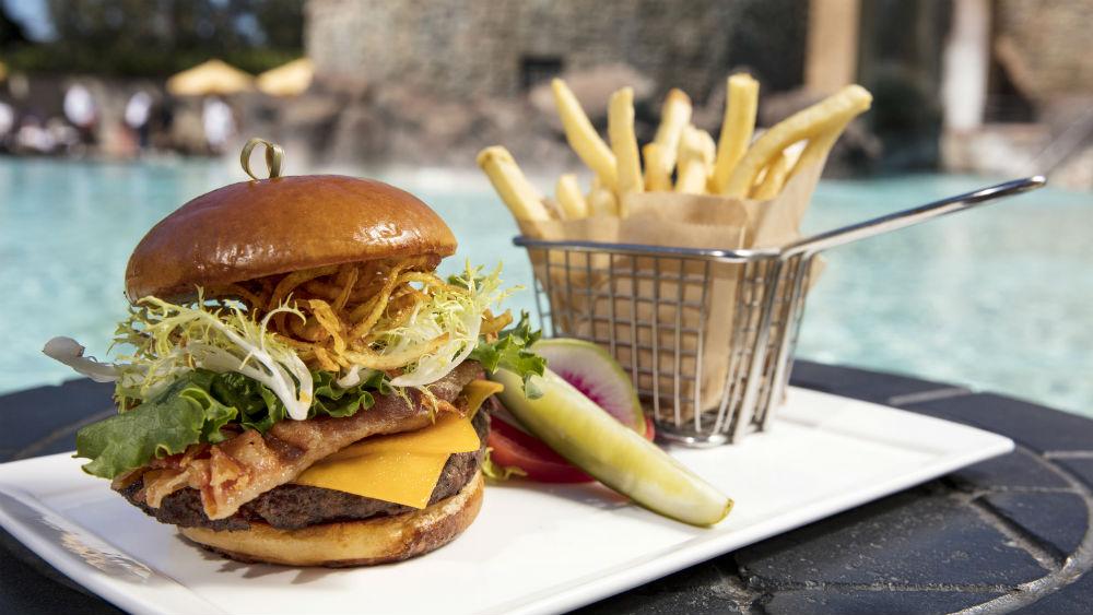 Burger by the pool at Loews Portofino Bay