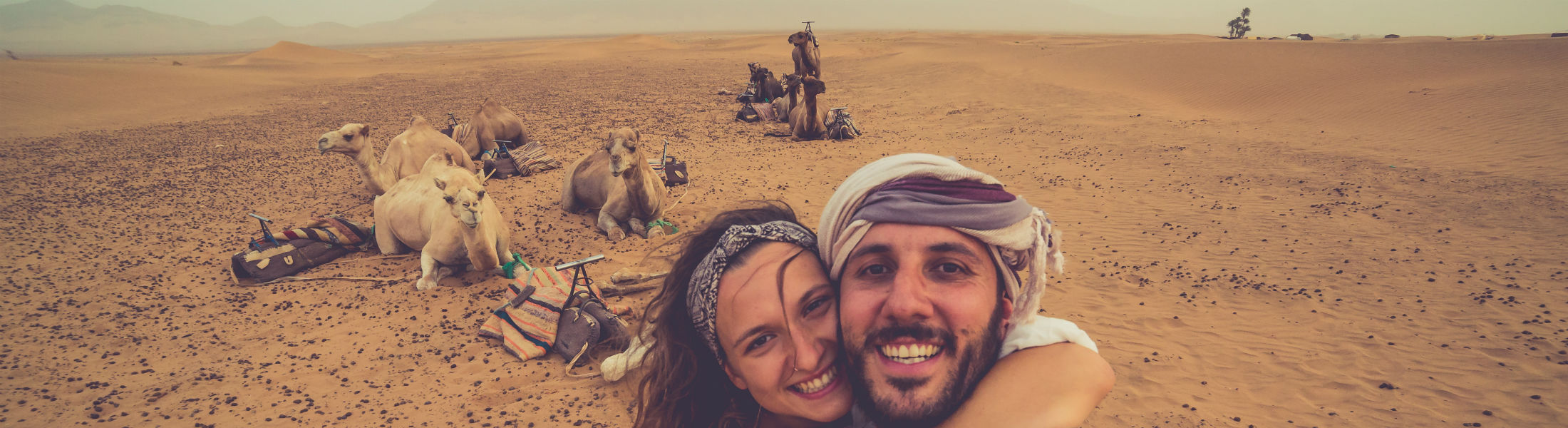 Couple enjoying safari desert