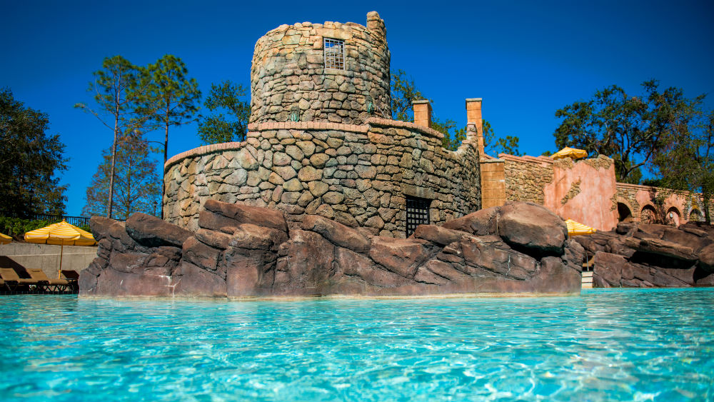pool castle at the Loews Portofino Bay Hotel at Universal