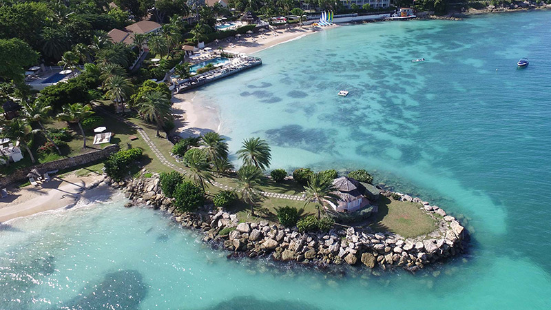 Aerial view of the Blue Waters Resort in Antigua