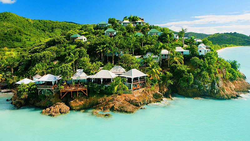 Aerial view of Cocos Resort in Antigua