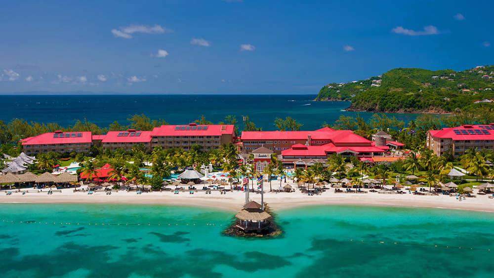 Aerial view of Sandals Grande St Lucian