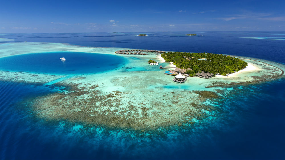 Aerial View island shot at the Baros Maldives