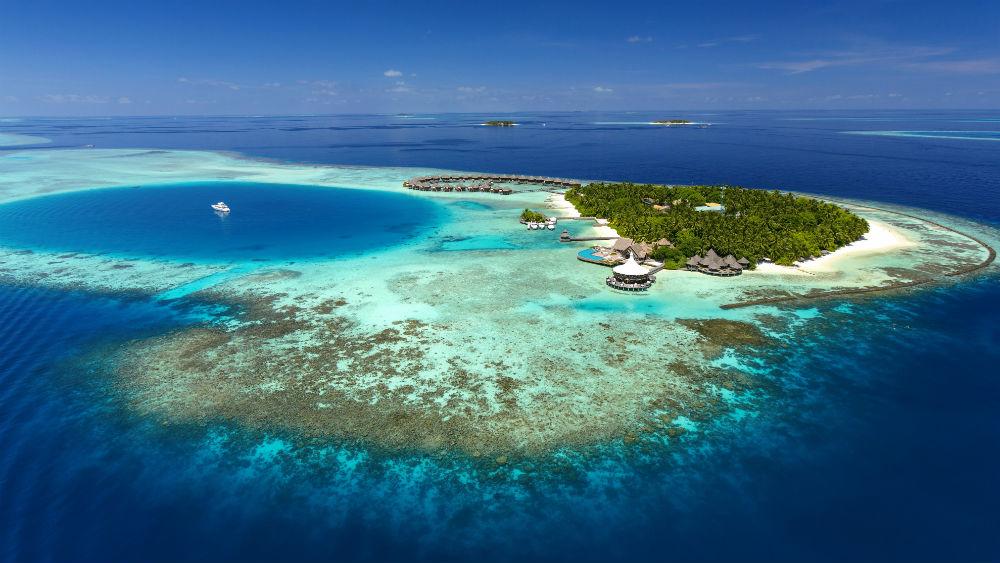 Aerial View island shot at the Baros Maldives