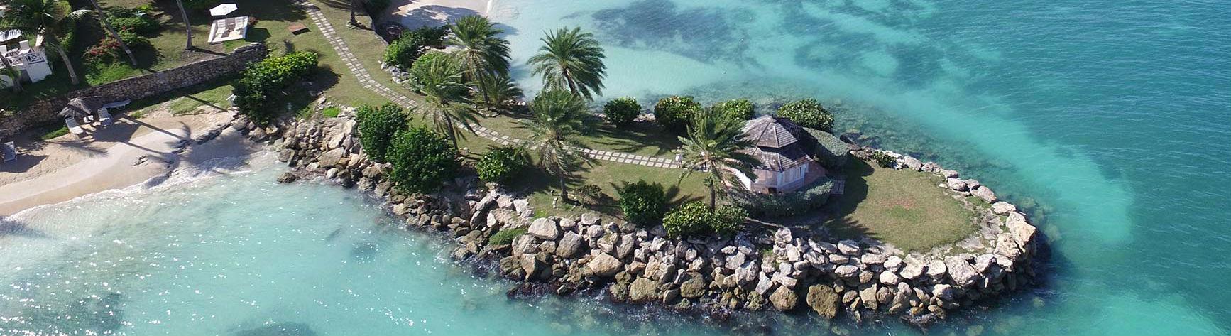 Aerial view Blue Waters Antigua