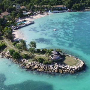 Aerial view the bay at the Blue Waters resort & Spa Antigua