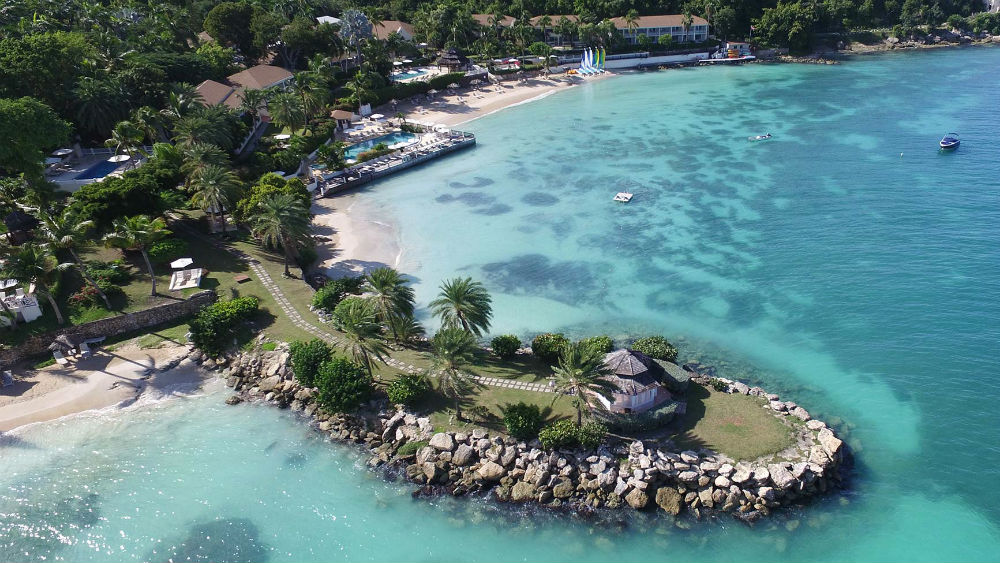 Aerial view of the Blue Waters Antigua