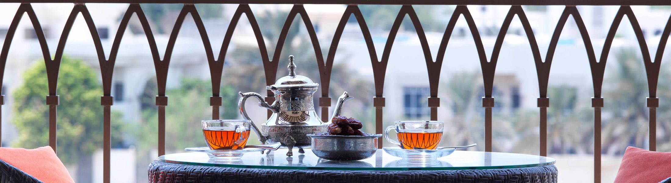 Arabian tea on teh balcony at Anantara Eastern Mangroves