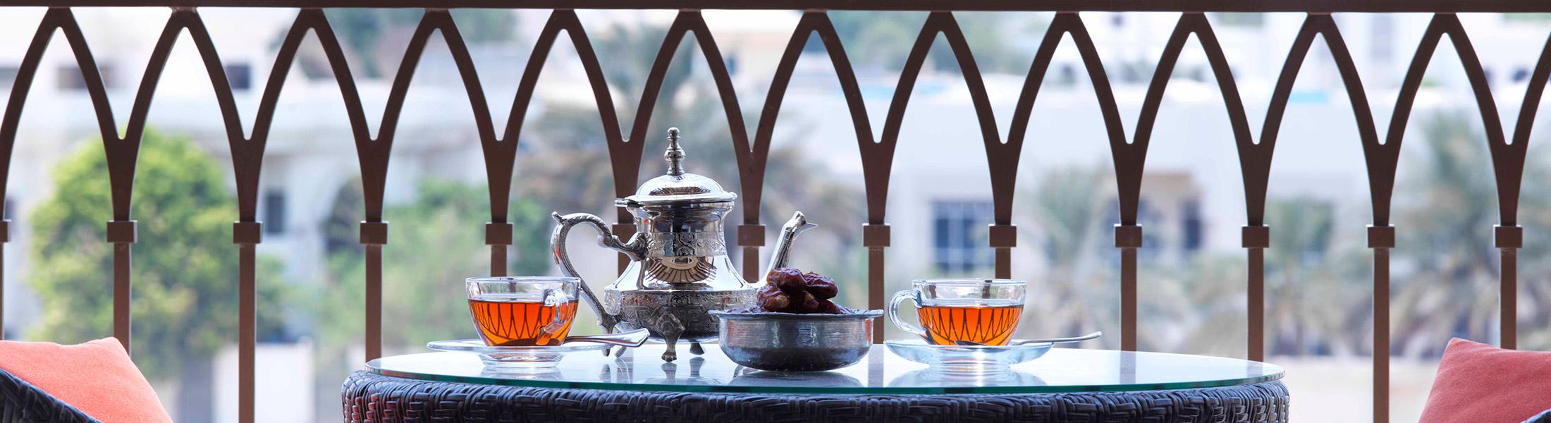 Arabian tea on teh balcony at Anantara Eastern Mangroves