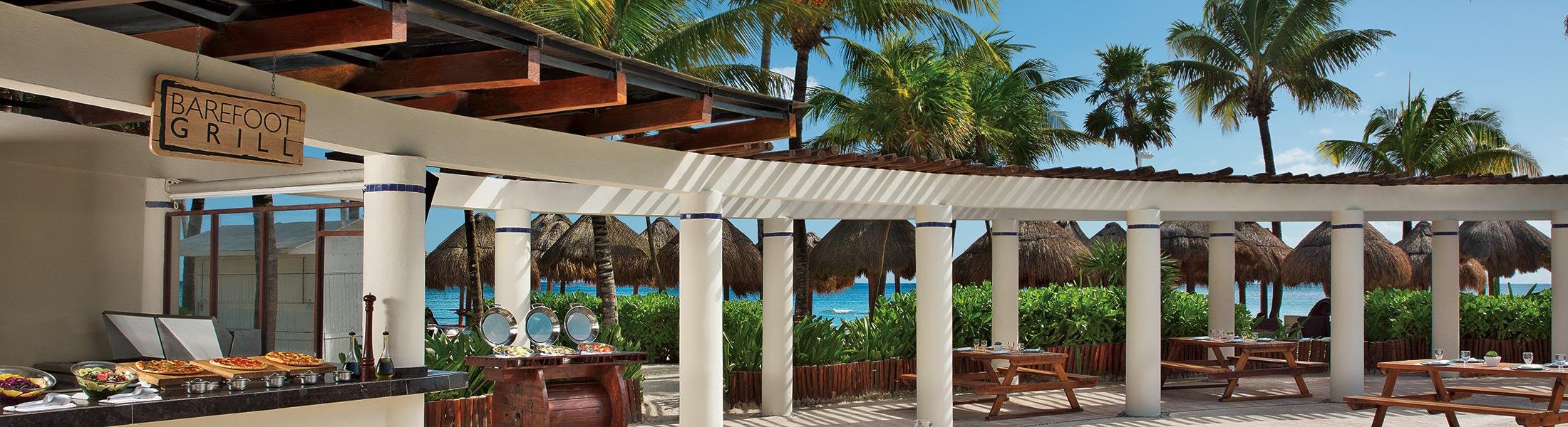 Outdoor dining at Dreams Tulum Resort & Spa