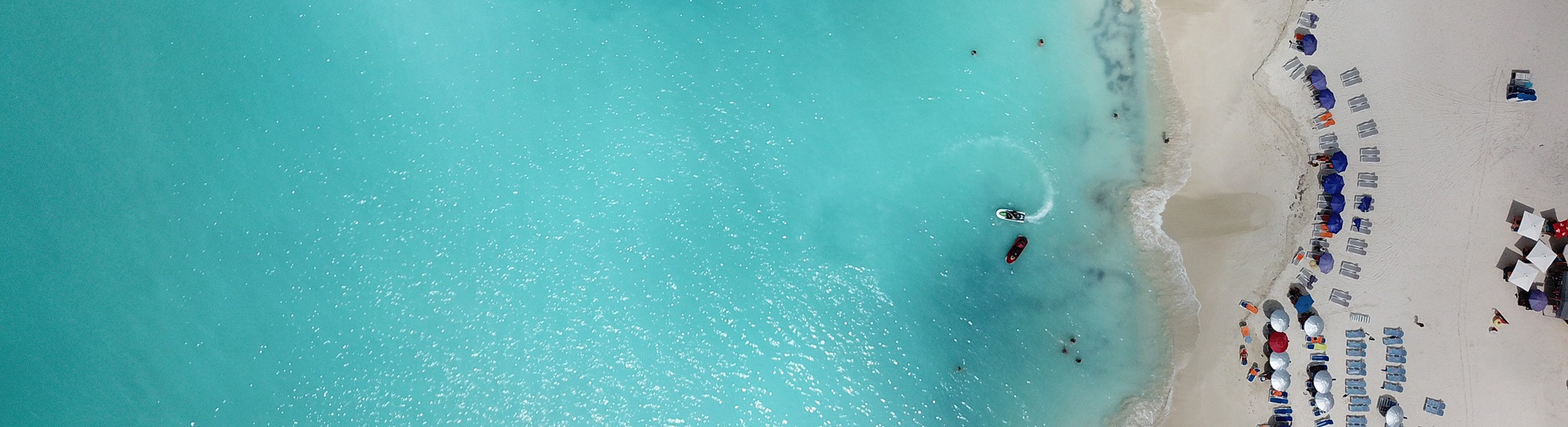 Aerial view of the beach in Antigua