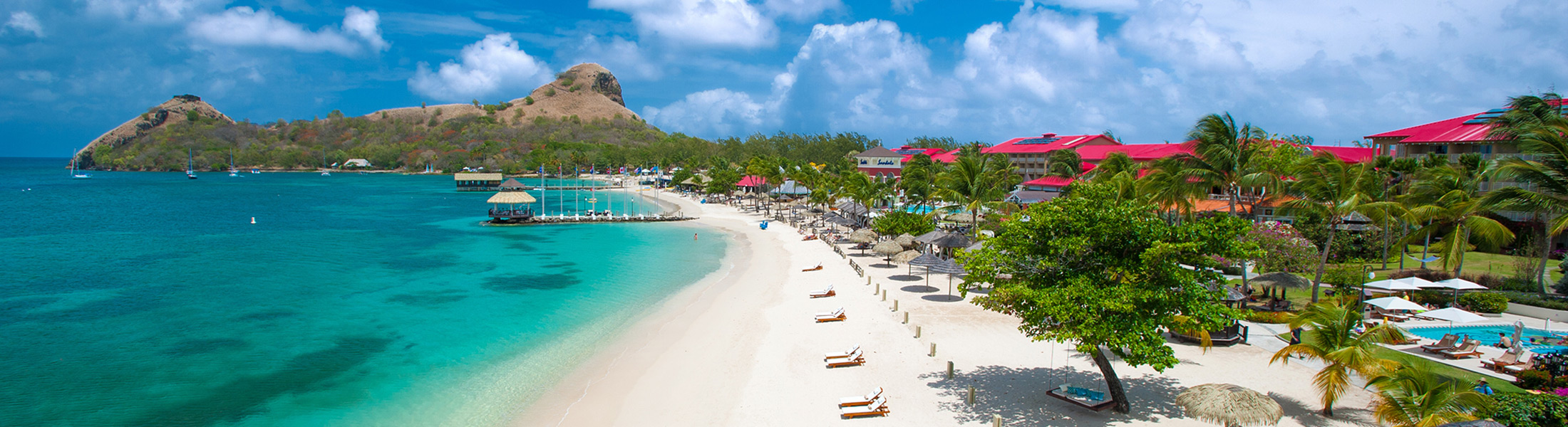 Aerial view of the beach at Sandals Grande St Lucian