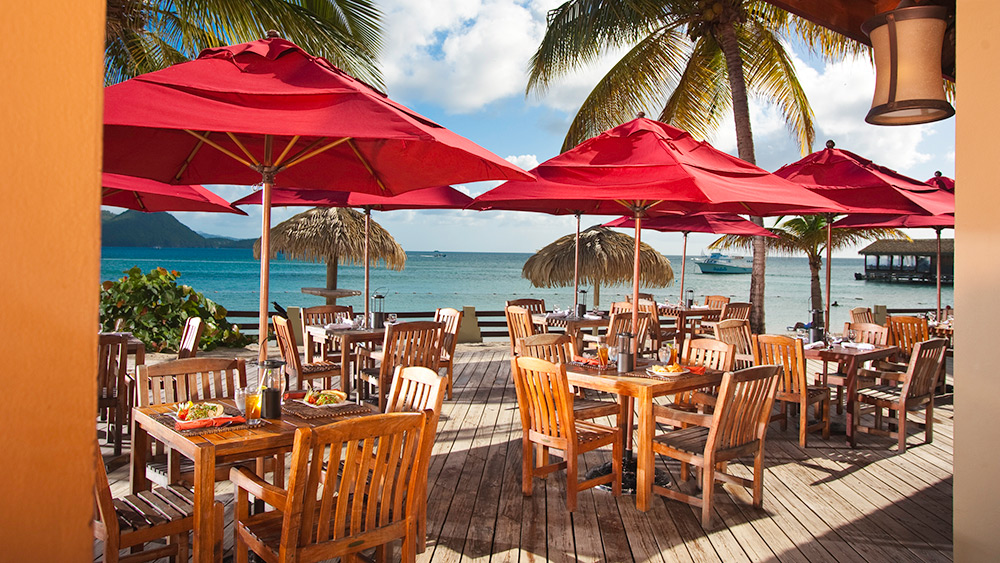 Outdoor dining at the Beach Bistro at Sandals Grande St Lucian