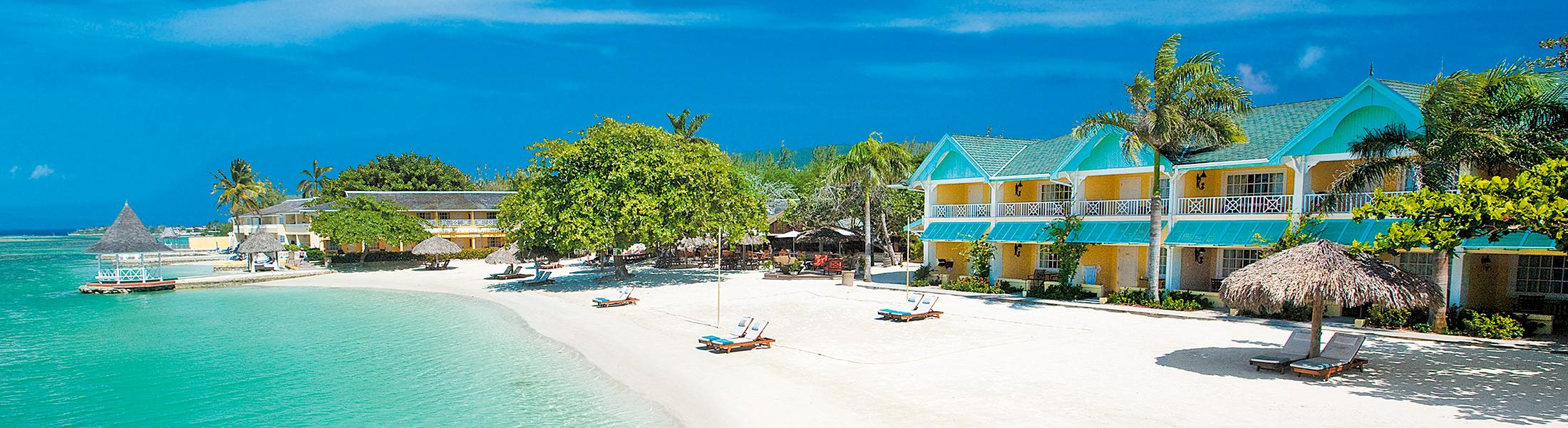 White sand beacy at Sandals Royal Caribbean
