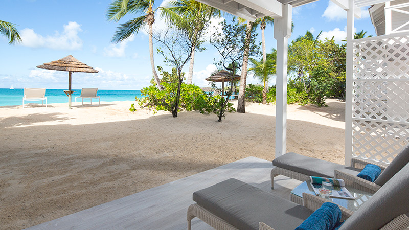 Decking and beach at Galley Bay Resort & Spa in Antigua