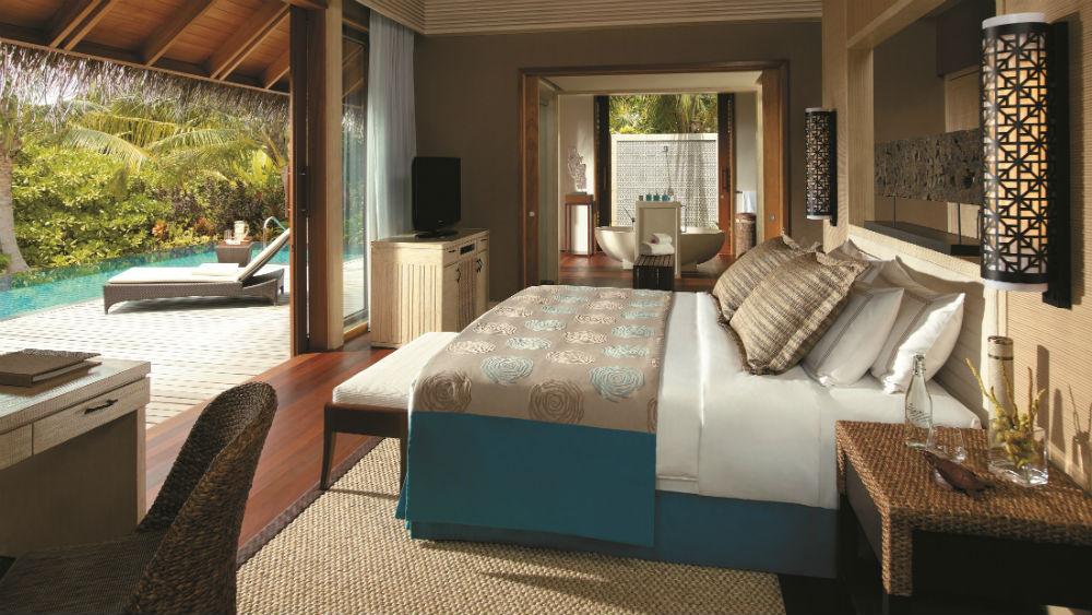 Deluxe pool Villa bedroom Shangri La Villingili Maldives