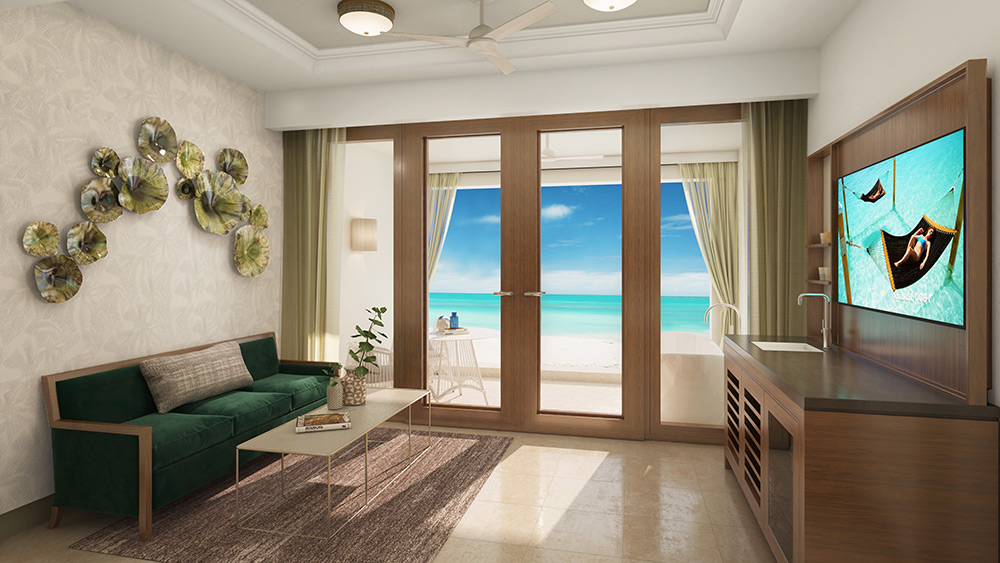 Living room of the Beachfront Honeymoon 1 Bedroom Walkout Suite at Sandals Royal Caribbean
