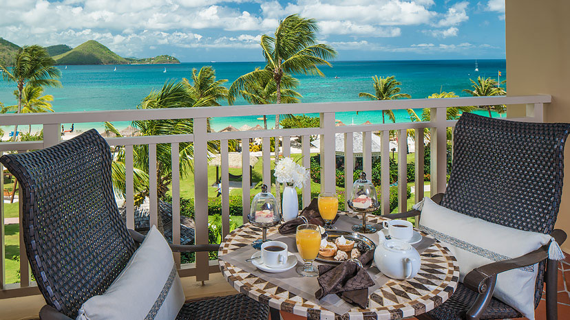 Balcony of the Caribbean Beachfront One Bedroom Suite at Sandals Grande St Lucian