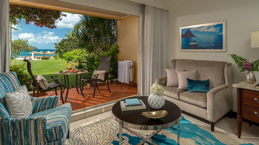 Terrace of the Caribbean Beachview Walkout room at Sandals Grande St Lucian