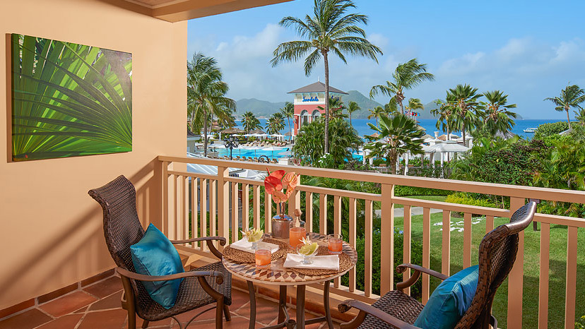 Balcony of the Caribbean Beachview Grande Luxe room at Sandals Grande St Lucian