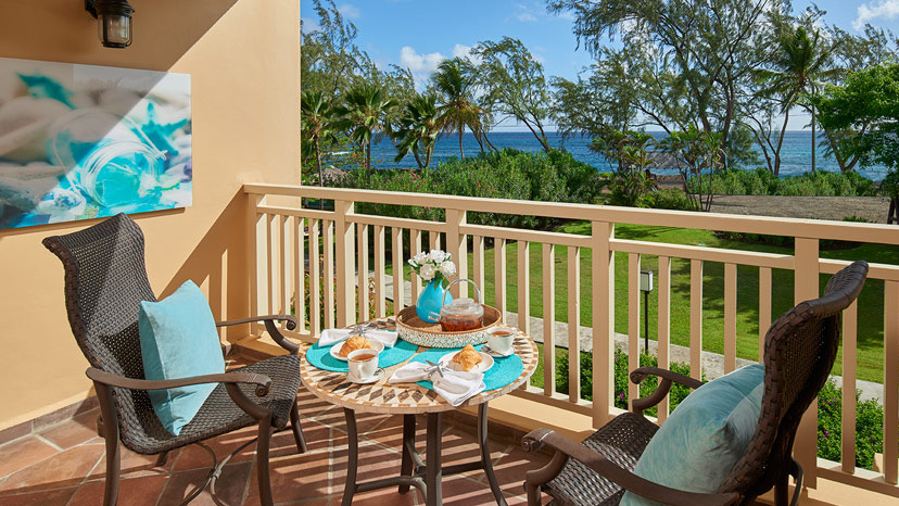Balcony of the Caribbean Oceanview Luxury room at Sandals Grande St Lucian