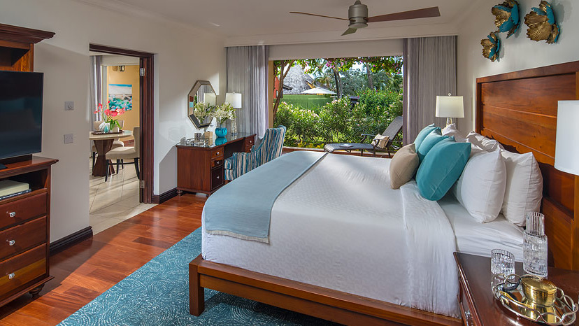 Bedroom of the Caribbean One Bedroom Suite at Sandals Grande St Lucian