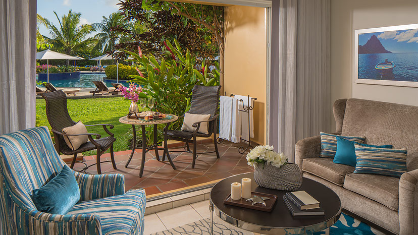Terrace of the Caribbean Walkout room at Sandals Grande St Lucian