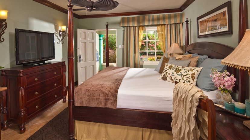 Bedroom of the Caribbean Premium Room at Sandals Royal Caribbean