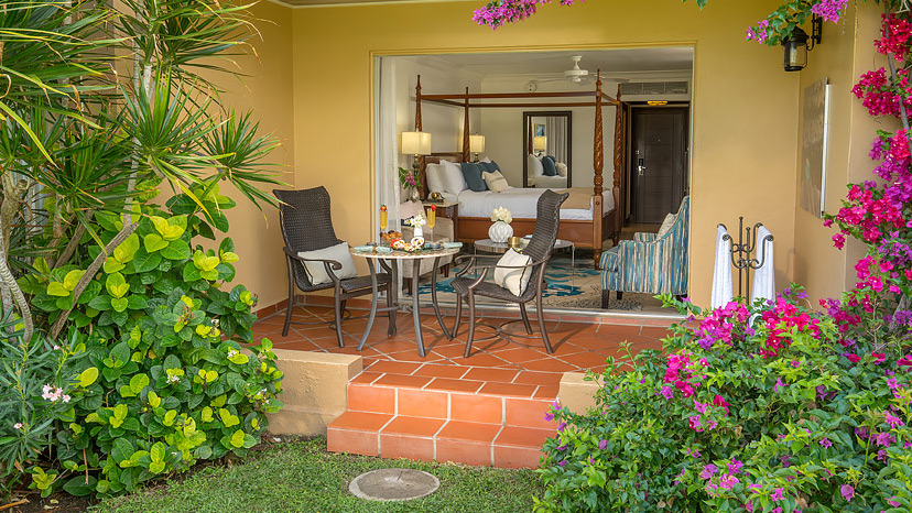 Terrace of the Caribbean Walkout Deluxe room at Sandals Grande St Lucian
