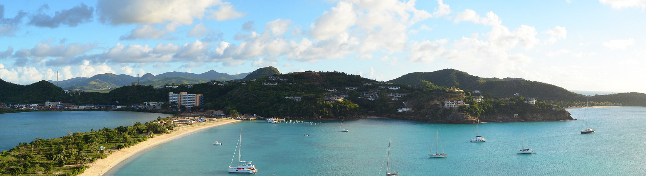 Aerial view of a bay in Antigua