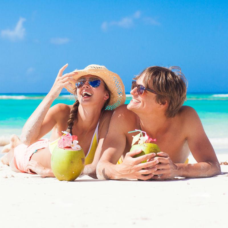 Couple on Caribbean Beach 267002681