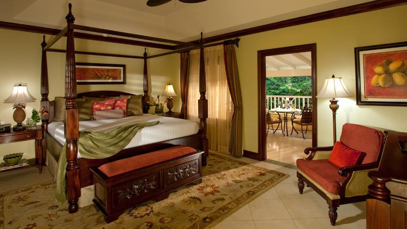 Bedroom of the Crystal Lagoon Honeymoon Oceanview Suite at Sandals Royal Caribbean