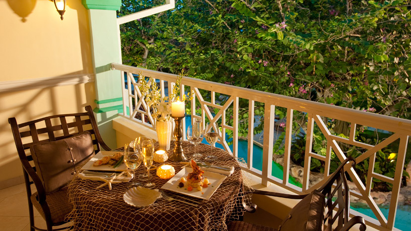 Balcony of the Crystal Lagoon Honeymoon Suite at Sandals Royal Caribbean