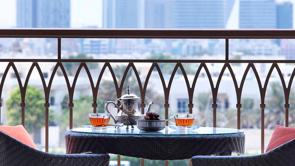 Arabian tea on the balcony at Anantara Eastern Mangroves Hotel & Spa