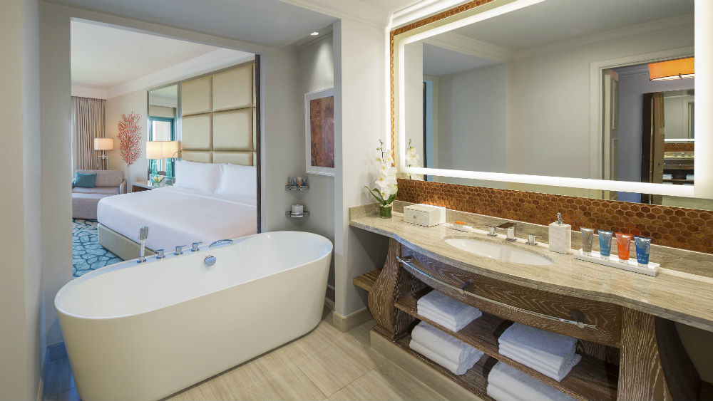 Deluxe king Room interior bathroom at the Atlantis The Palm