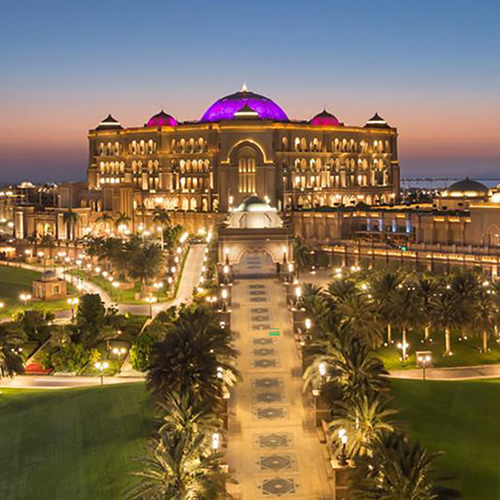 Exterior at night of Emirates Palace