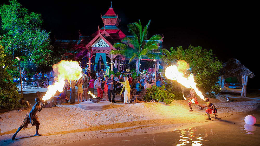 Fire breathers at Sandals Royal Caribbean evening entertainment