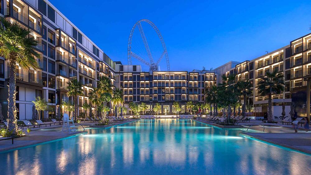 Pool at night at Caesars Resort Bluewaters