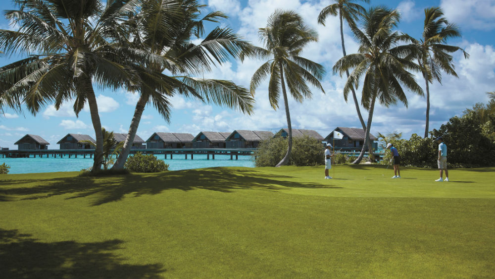 Golf course water villas Shangri La Villingili Maldives