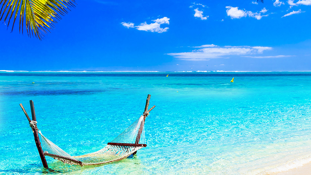 Hammock in the water in Mauritius