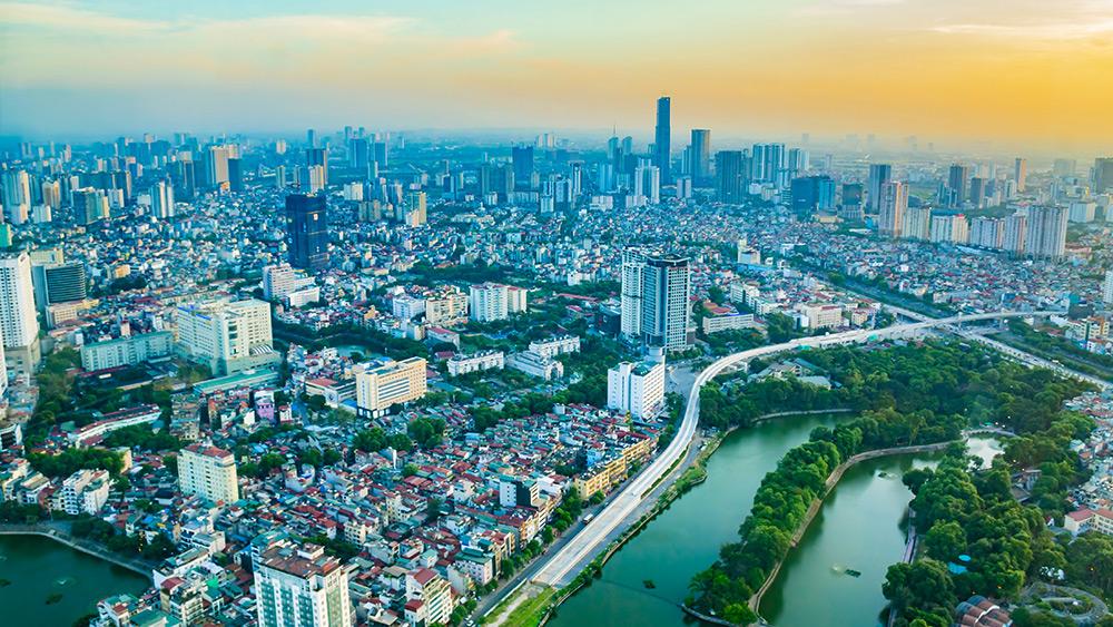 Hanoi city skyline at dusk