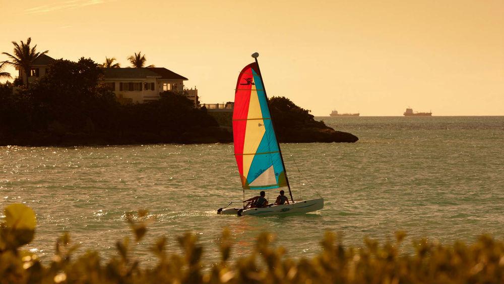 Hobbiecat sailing at the Blue Waters Antigua