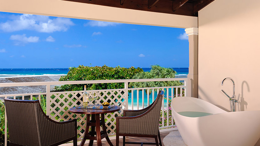 Balcony of the Honeymoon Grand Luxury Suite at Sandals Royal Caribbean
