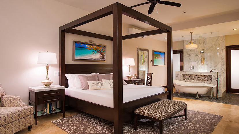 Bedroom of the Honeymoon Grand Luxury Walkout Suite at Sandals Royal Caribbean