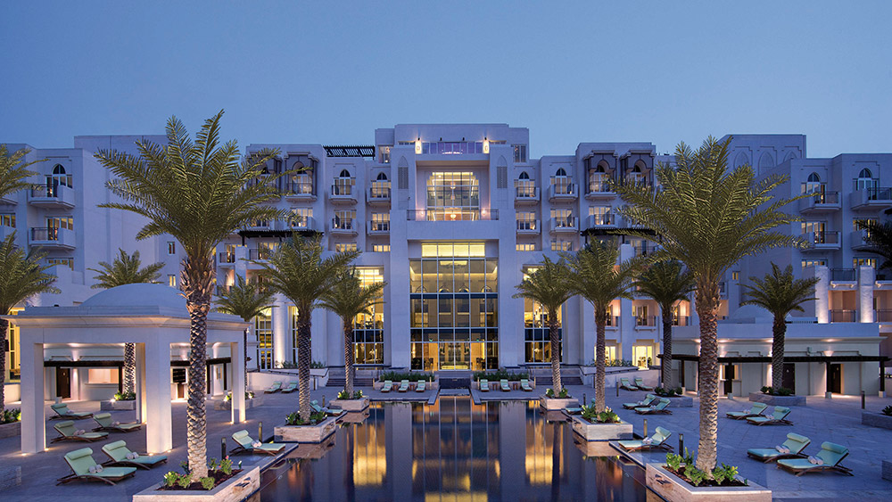 Exterior at night at Anantara Eastern Mangroves Hotel & Spa