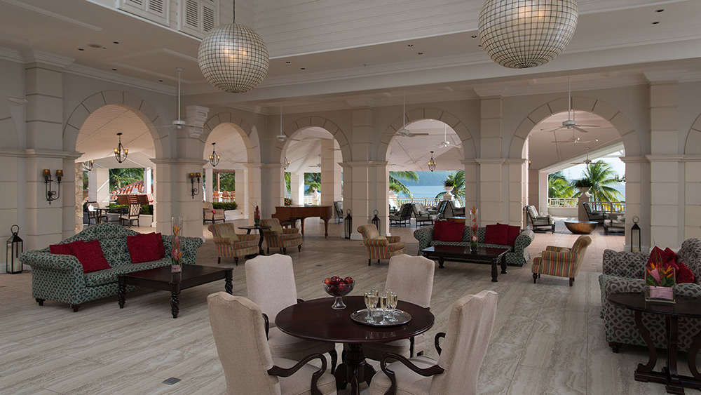 Thye lobby of Sandals Grande St Lucian