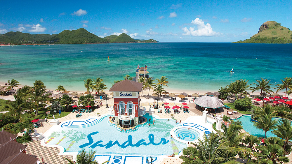 Aerial view of the main pool at Sandals Grande St Lucian
