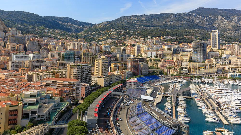 Aerial view of Monaco Grand Prix pit lane